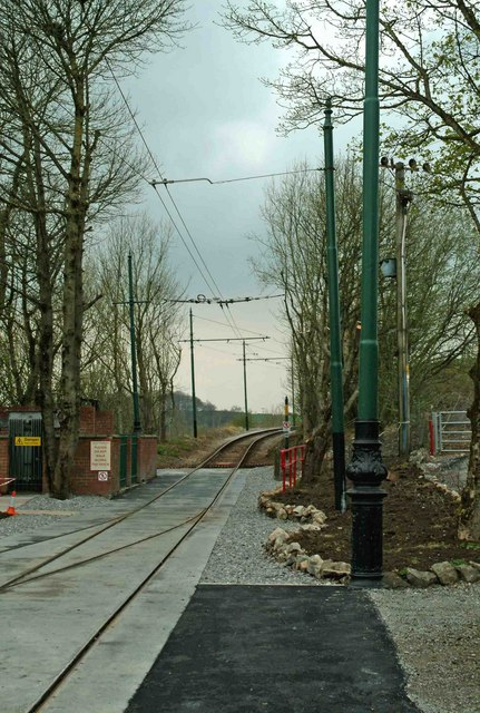 Tram line to the Glory Mine terminus of the Crich Tramway