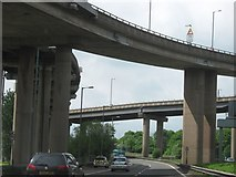 SP0990 : Underneath Spaghetti Junction and Heading Towards Birmingham on the A38(m) by Roy Hughes