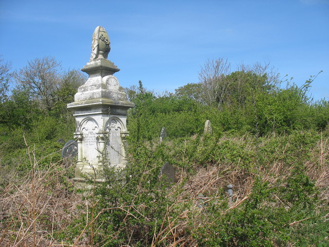 The slightly overgrown churchyard at Llanynghenedl