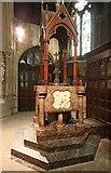 TQ2479 : St John the Baptist Church, Holland Road, London W14 - Font by John Salmon
