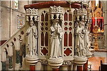 TQ2479 : St John the Baptist Church, Holland Road, London W14 - Pulpit detail by John Salmon