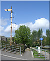 SS9390 : Disused railway signal and station platform at Ogmore Vale by eswales