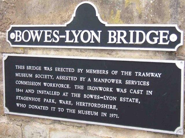 Plaque on Bowes-Lyon Bridge, Crich Tramway Village