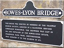 SK3455 : Plaque on Bowes-Lyon Bridge, Crich Tramway Village by L S Wilson
