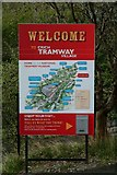 SK3455 : Crich Tramway Village welcome sign by P L Chadwick