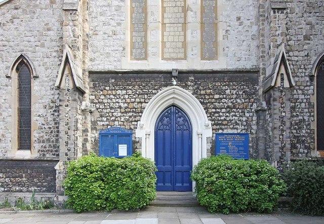 Holy Trinity Church, Shepherdess Walk, Hoxton, London N1 - West doorway