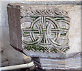 TF6932 : St Michael's church - baptismal font detail by Evelyn Simak