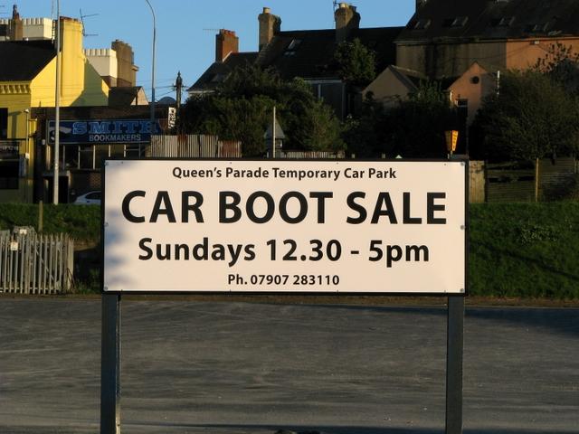 Car boot sale sign, Queen's Parade