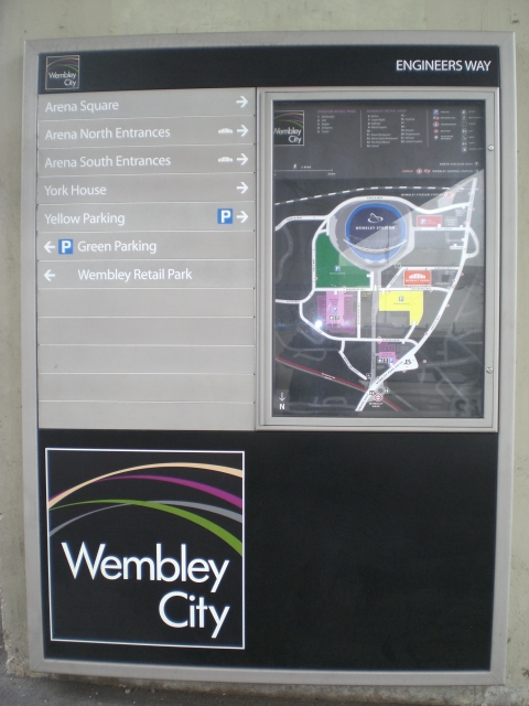 Wembley City information board, Engineers Way, Wembley