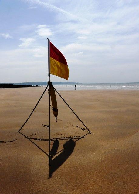 Safe bathing flag, Summerleaze beach, Bude