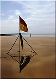 SS2006 : Safe bathing flag, Summerleaze beach, Bude by Tom Jolliffe