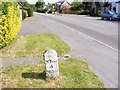 TL2866 : Milestone on B1040 Potton Road, Hilton by Adrian Cable