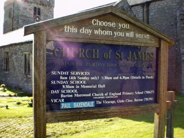 Church of St James, Burton, Sign