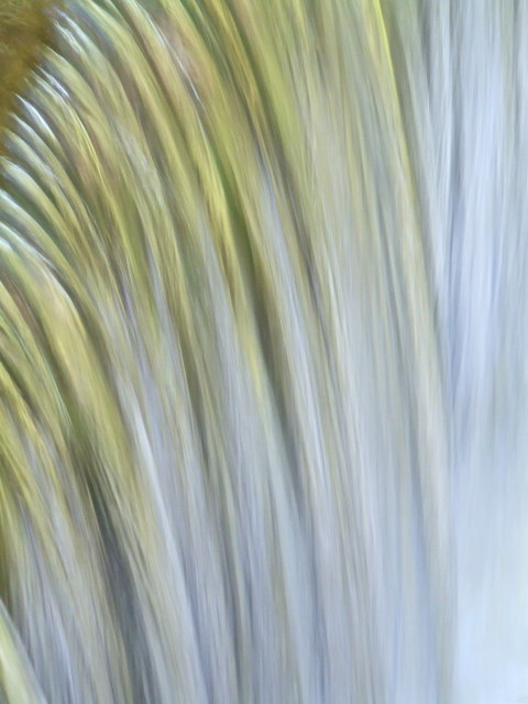Close up of water at the mill lade waterfall