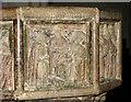 TM2999 : St Peter's church - baptismal font detail by Evelyn Simak