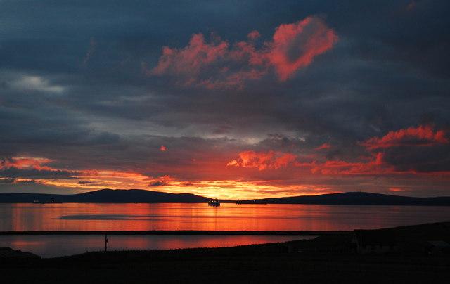 Echna Loch, Echnaloch Bay and tankers in Scapa Flow