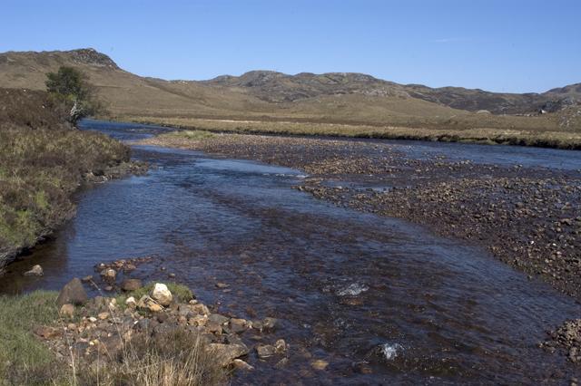 Gravel banks in the River Gruinard