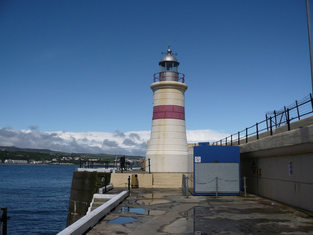 The Battery Pier and Lighthouse below Douglas Head