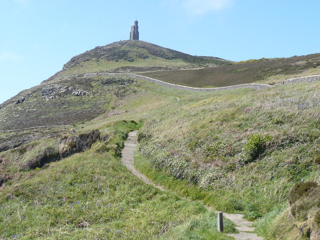 Flagged footpath leading to Milner's Tower on Bradda Head