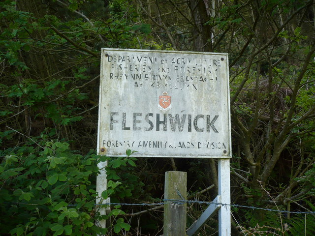 Old forestry sign in woodland at Fleshwick