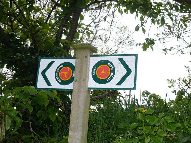 Millennium Way sign near St. Runius Church, Marown
