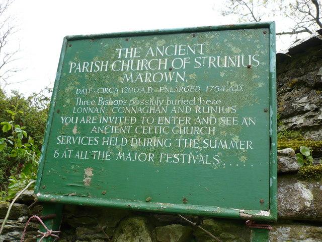 Sign at St. Runius Church Marown