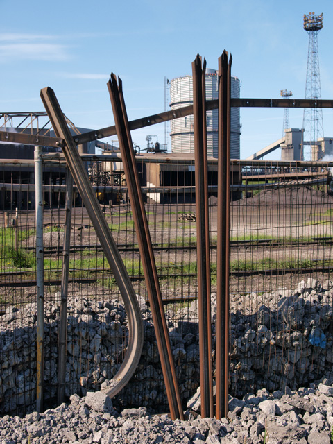 Damaged fence at Redcar steelworks