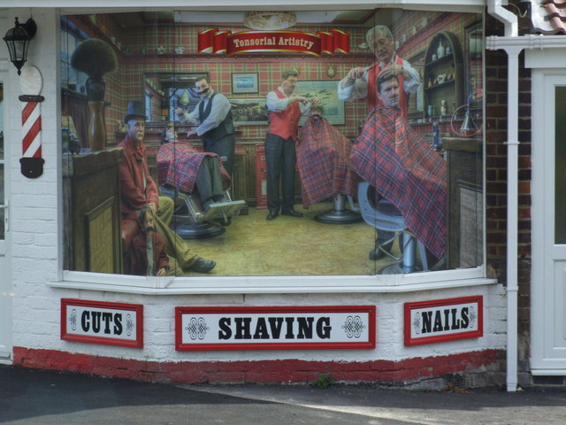 The feature window at the Barber's shop