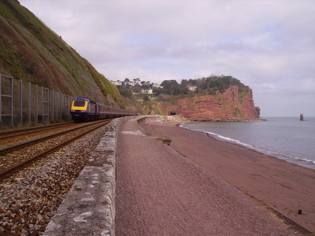 Unstable cliffs at Teignmouth Sea Wall