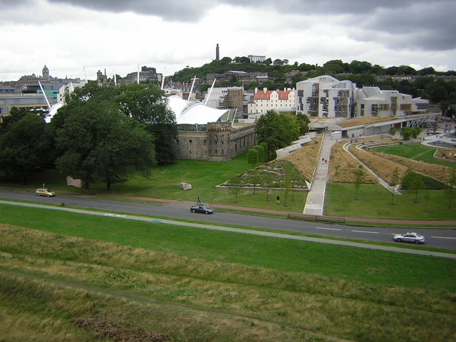 The Scottish Parliament from below Salisbury Crags