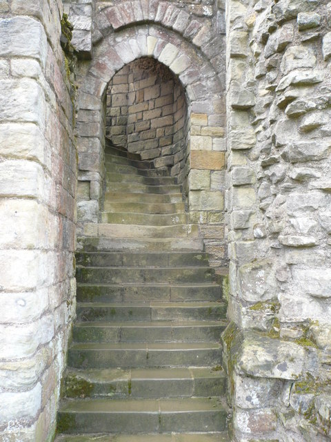 Steps to the upper levels of Warkworth Castle