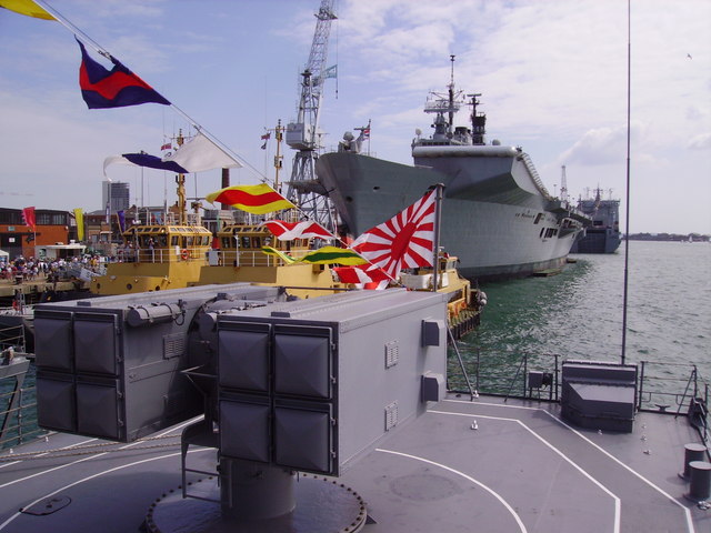 HMS Illustrious at Portsmouth from the deck of JDS Umugiri