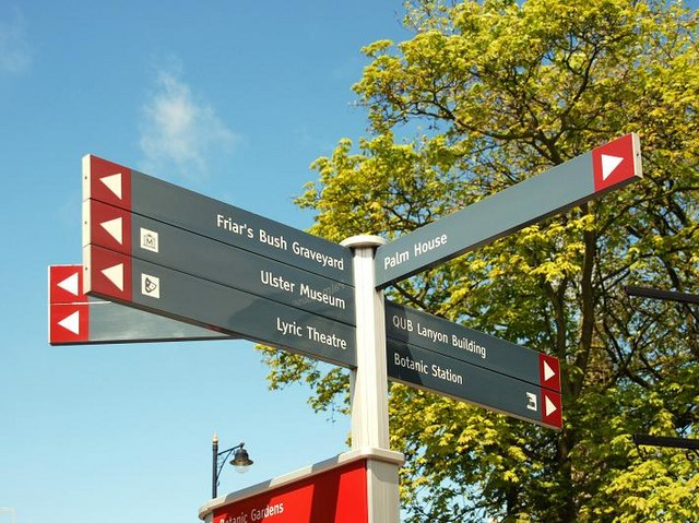 Tourist information sign (with Geograph directions), Belfast