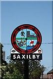 SK8975 : Saxilby village sign by Richard Croft