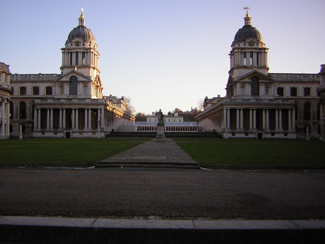 A wintry sunset at the Old Royal Naval College, Greenwich
