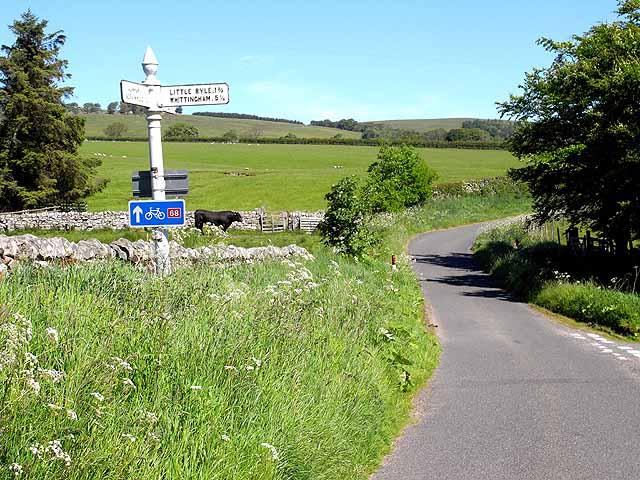 Road junction near Alnham