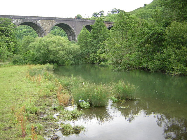 Monsal Dale Viaduct from the banks of the River Wye