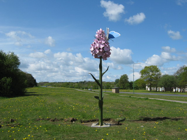 Orchid and butterfly sculpture