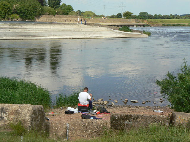 Fishing at Beeston Weir
