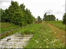 SK4995 : Overspill weir from Firsby reservoir by Steve  Fareham