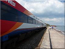 SX9777 : Dawlish Warren : Coastal Path & South West Trains Train by Lewis Clarke