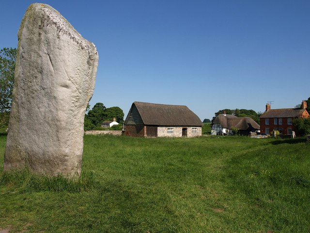 Standing stone and buildings at Avebury
