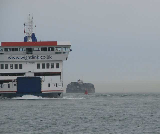 Wightlink Ferry passes the Spit Sand Fort