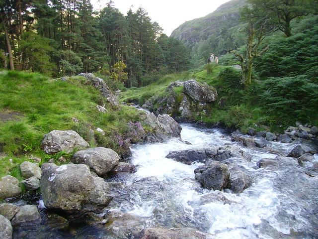 Nant Cadair Falls alongside the Minffordd Path