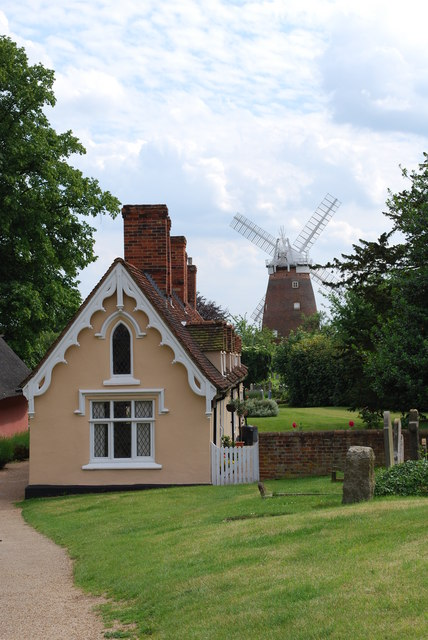 Thaxted almshouses and mill