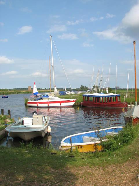 Boats moored by the Buckenham sailing club