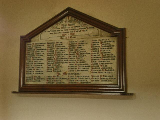Heptonstall Methodist Church, Memorial