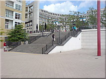 TQ3680 : Steps from Thames Path up to Westferry Road by Danny P Robinson