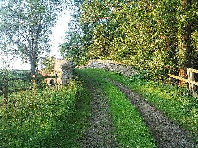 Farm track over dismantled railway line