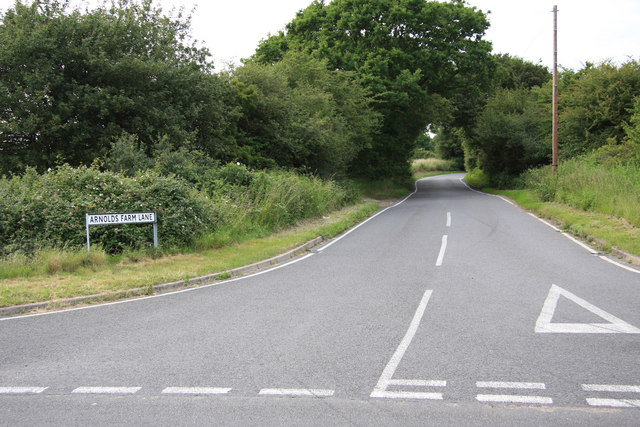 Arnold's Farm Lane at junction with Lower Road, Mountnessing